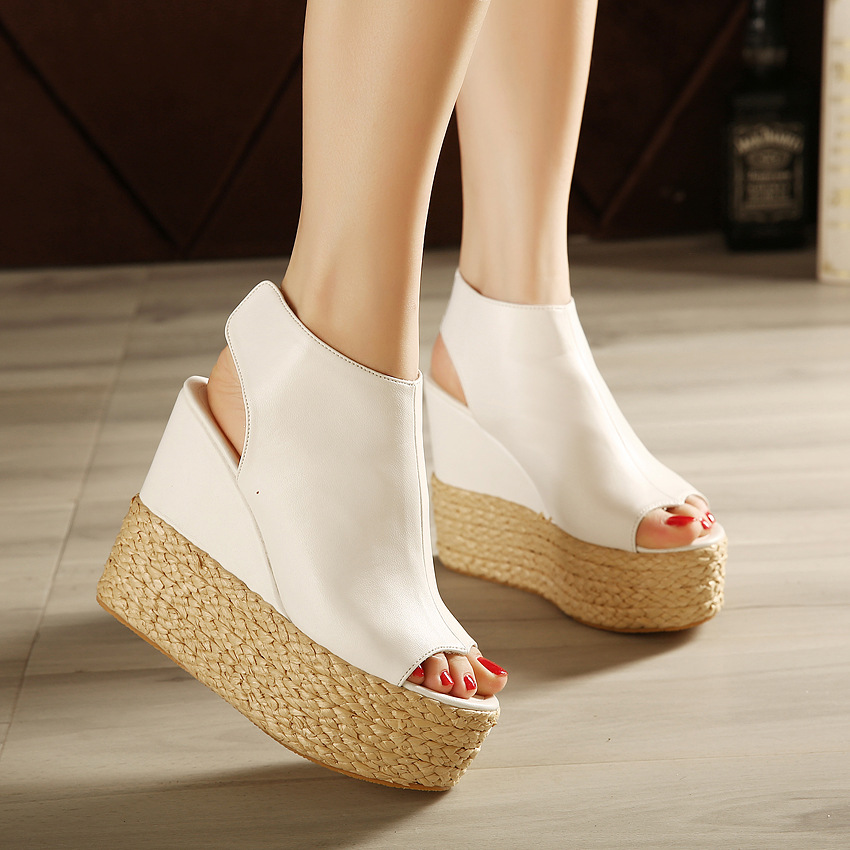 4be14b70e The slope with a new spring high-heeled sandals heels Korea Princess summer  women shoes. 1P4A8723